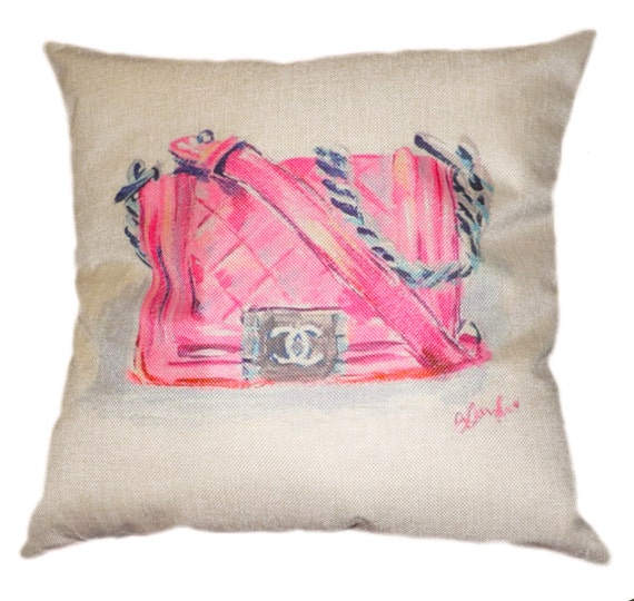 Pink Chanel Inspired Pillow Cover Decorative by GREENPANTHERINC