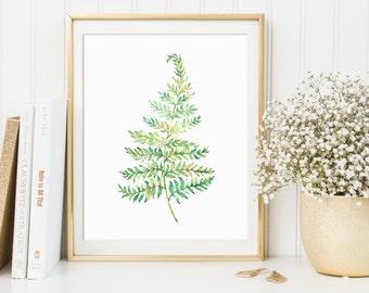 Fern Print, Fern Printable, Watercolor Fern, Fern Decor, Plant Prints, Fern Wall Art, Green Artwork, Botanical Poster, Watercolor Plant Art