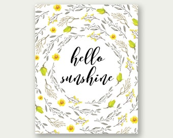Hello Sunshine Printable, Hello Sunshine Print, Hello Sunshine Decor, Girl Floral Print, Hello Sunshine Wall Art, Nursery Wall Art, Yellow
