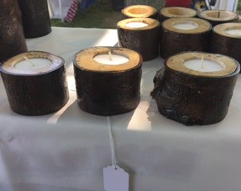 Rustic Natual Log Tea Light Candle Holder