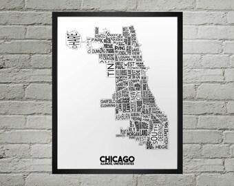 Chicago Illinois Neighborhood Typography City Map Print