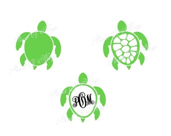 Sea Turtle SVG File, Turtle Monogram Svg, Sea Life Svg,Turtle Cutting File, Turtle Monogram DXF, Turtle DXF Silhouette, Digital File, Cricut