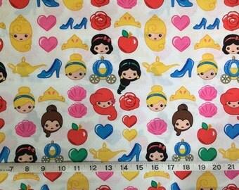 Disney Princess Emojiland Fabric 100% Cotton Fabric by the 1/2 Yard