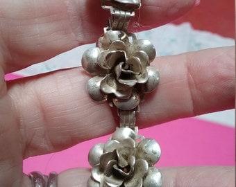 Vintage Rose sterling silver bracelet at 6.5 inches