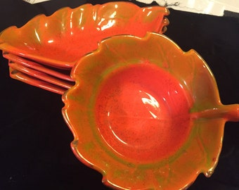 Vintage california pottery chip/dip set
