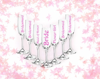 DIY champagne flute decal, bridesmaids and wedding parties, set of 3