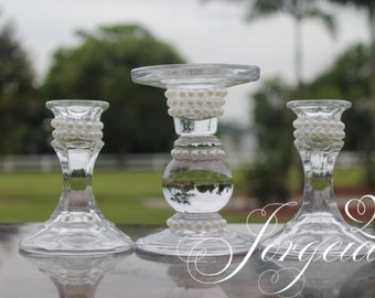 Pearl Unity Candle Holder Set/Unity Candle Set/Ceremony Candle/Wedding Candle/Memorial candle/Mather's Day/Valentine's Day