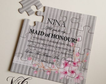 Will you be my Maid of Honor puzzle, Ask Maid of Honour puzzle, Bridesmaid puzzle invitation card, Will you be my Flower Girl puzzle card