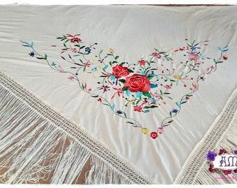 Triangle embroidery piano shawl, Manila multicolored flowers in silk jersey fabric - Flamenco Spanish Style