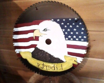 eagle painted on saw blade