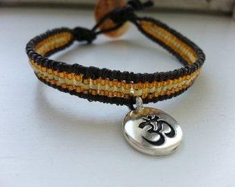 Yellow yoga bracelet- solar chakra, ohm charm - ohm bracelet, ohm wristband, meditation bracelet, yoga wristband, yoga jewels, mindfulness