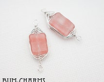F0039 - Pre-Wired GemStone, Glossy Original Rhodium Plated, Wire Wrapped Rectangle Natural Rose Cherry Quartz Connector, 2 Pieces
