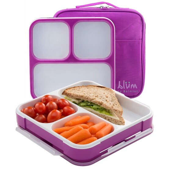 bento lunch box with insulated bag slim design fits in by. Black Bedroom Furniture Sets. Home Design Ideas