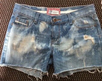 Jean Shorts Bleached and Distressed, by Authentic Denim.  Size 10