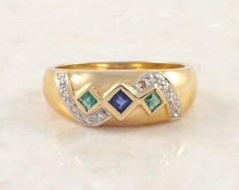 18K Yellow Gold Sapphire, Emerald and Diamond Band