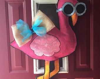 Pink Flamingo Burlap Door Hanger