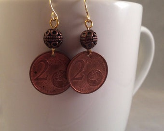 Two Cent Euro Coin Earrings