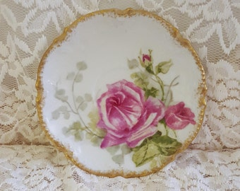 Saucer with Gold Trim & Floral Art