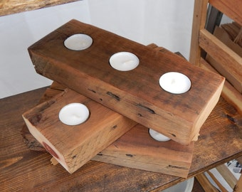 Reclaimed Wood - Triple Tealight Holder