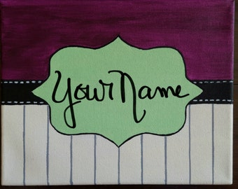 Custom Canvas Name Art for babies kids and teachers, name sign, baby name sign
