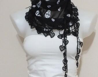 Soft Cotton scarf Lace scarf  Black cotton scarf  Summer scarf Women fashion accessories Summer accessories Gift ideas