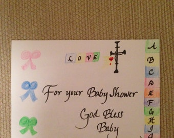 For Your Baby Shower Greeting Card in Calligraphy