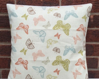 """NEW Biege Butterfly 16"""" Cushion Cover Shabby Chic, Country Cottage, Vintage Style"""