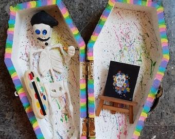 Sugar Skull Artist Coffin