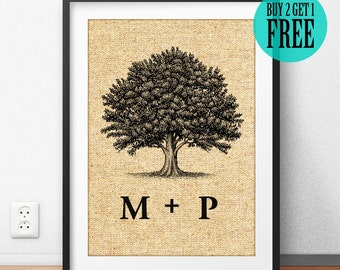 Family Tree, Family Sign, Tree of Life, Burlap Print, Anniversary Gift, Housewarming Gift, Personalized, Rustic Home Decor, Wall Art, CM35