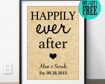 Happily Even After, Burlap Print, Personalized, Rustic Wedding Decor, Wedding Gift for Couple, Anniversary Gift, Housewarming Gift CM77