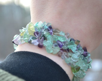 Thick Green and Purple Fluorite Crystal Bracelet