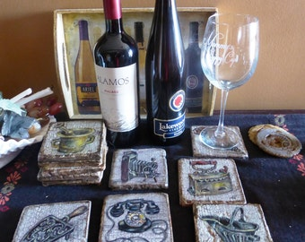 Tumbled Marble Coasters with antique objects