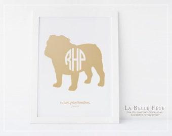MONOGRAMMED BULLDOG ART Personalized monogram nursery print