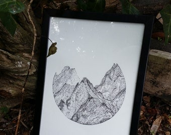 Static Peaks, digital download, original ink pen art.