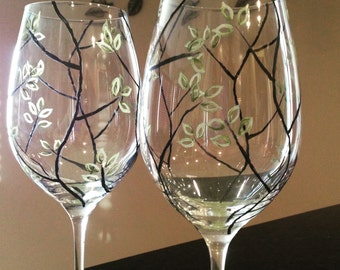Hand painted green leaf wine glasses