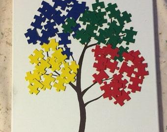 Autism Awareness Tree Canvas