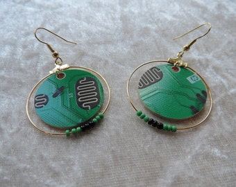 PCB, green recycling black gold, seed beads earrings