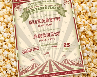 """Circus Big Top """"Come One Come All!"""" Wedding Invitation Set with Invitation and an RSVP Postcard"""