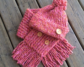Blush Knitted Scarf and Hat Set