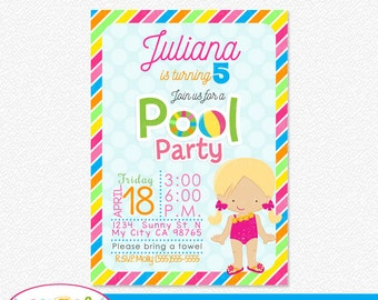 Personalized Pool Party Printable Invitation