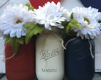Red, White,and Blue Mason Jars - Fourth of July MasonJars, Labor Day, Memorial Day, American Flag Mason Jars, Independence Day