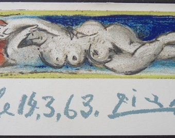 Pablo PICASSO: Small reclining, nude lithograph signed in the plate - 1963
