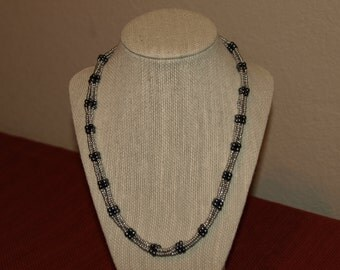 Handmade grey and blue beaded necklace