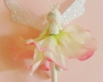 Flower fairy  with glitter wings, fairy,