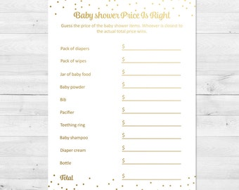 Price Is Right Baby Shower Game, Gold Baby Shower Price Is Right, Confetti Baby Shower Game, Baby Shower Games