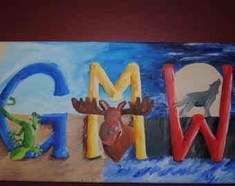 Custom Monogram Painting with Animals