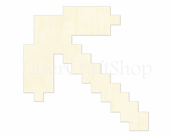 "2"" - 34"" Minecraft Pickaxe 8-bit Wooden Cutout Shape, Silhouette, Gift Tags Ornaments Laser Cut Birch Wood  #1105"