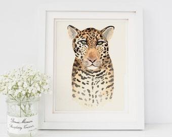 Jaguar Watercolor Painting Print 8x10 Safari Animal Nursery Decor