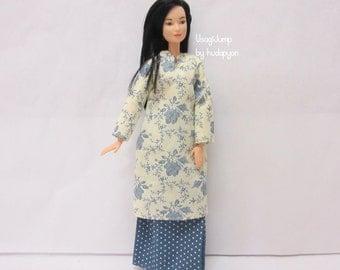 Handmade Barbie clothes - Creamy Flowers Baju Kurung (Malaysian Traditional Cloth)