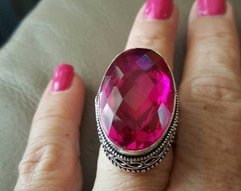 Pink Mystic Topaz Ring- size 8!